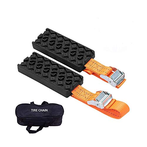 Outzone Anti Skid Tire Blocks 2PCS Emergency Snow Mud Sand Tire Chain Straps Traction Device for Trucks and SUVs with Carry Bag- Get Unstuck Now