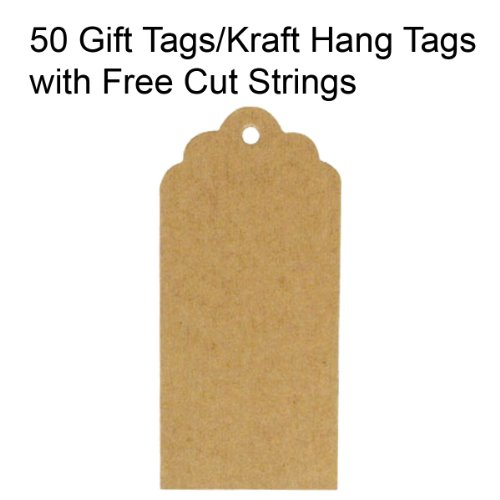 Wrapables 50 Gift Tags/Kraft Hang Tags with Free Cut Strings for Gifts Crafts and Price Tags, Scalloped Tag