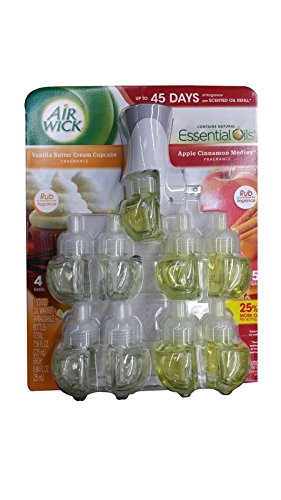 Air Wick scented oil plug in with 9 additional refills , Vanilla butter cream cupcake and apple cinnamon medley