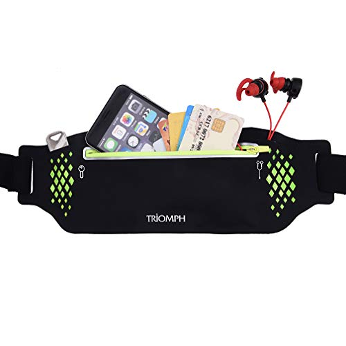 (Triomph Running Belt Waist Pack Fitness Waist Bag for Hiking, Water Resistant Runners, Adjustable Belt for iPhone Xs Max, XR and Any Large Smartphone, 3 Pockets w/Reflective Zippers, Earphone Hole)