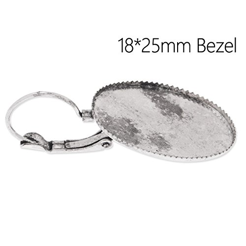 50pcs/lot-Antique Silver Plated Earrings Findings with 18x25mm Blank Bezel