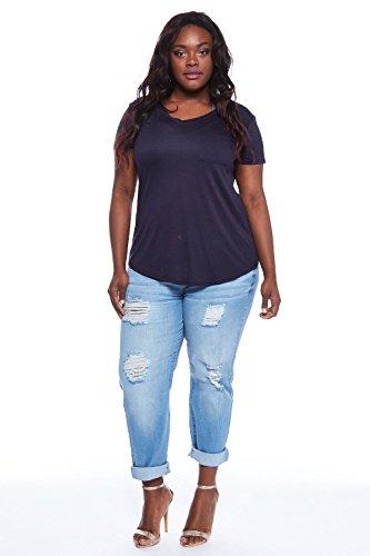 best Womens Plus Size Destroyed Light Rolled Up Boyfriend Jeans ...