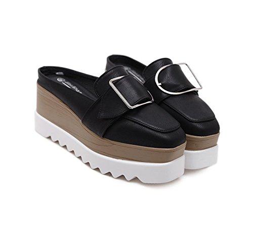 Xing Lin Sandalias De Mujer Verano De Tacón Alto Nuevo Half-Flip Sandalias Zapatos De Media Longitud Calzado Casual Un Pedal Baotou Zapatillas black