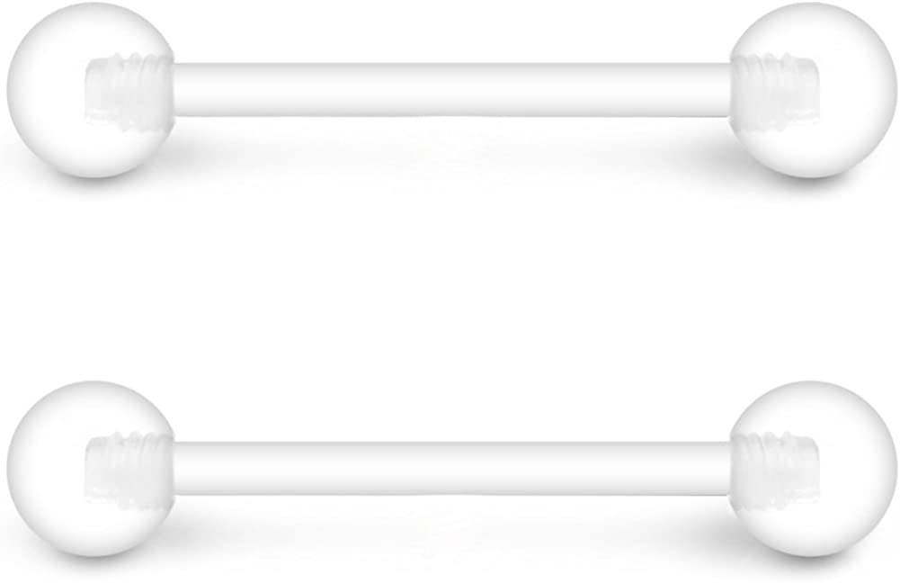 Ruifan 14G 9//16 Inch Bioflex Flexible Acrylic Straight Tongue Nipple Ring Retainer Piercing 14-30PCS