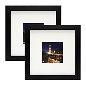 Frametory,Set of 2 Black Square Instagram Photo Frame -8X8 Table-Top (4x4 Matted) - Wide Molding - Built in Hanging Features (8x8 Set of 2, Black)