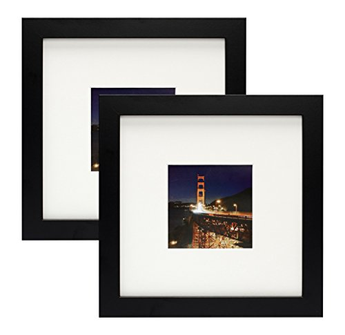 Frametory,Set of 2 Black Square Instagram Photo Frame -8X8 Table-Top (4x4 Matted) - Wide Molding - Built in Hanging Features (8x8 Set of 2, - Frame Square