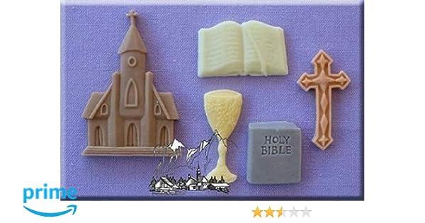 Comunión - 3D Moldes De Silicona Decoración Pasteles Ideal para Decoración Cupcakes y Ése Especial Pastel para Comunión De Bake and Create: Amazon.es: Hogar