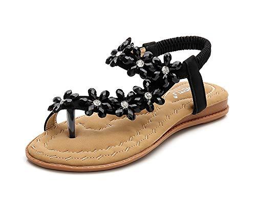YALLET Women Sandals Flats,Summer Girls Sandals Bohemian Rhinestone,Beach T-Strap Elastic Flip-Flops (7 M US, Blue B)