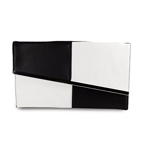 For Women's Prom Envelope P Bag amp;R Fashion Wedding Evening Stitching White Gife Clutch Purse Women Best Party 5Hzx6Fqx