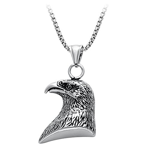 Eagle Head Pendant - SENFAI Vintage Antique Silver Eagle Glede Head Pendant Jewelry for Man (30 Inches)