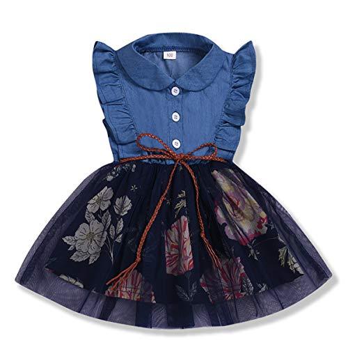 (Little Girls Tutu Dress Denim Tops Peach Fruit Print Sleeveless Skirt Dresses One-Piece Princess Skirts (Blue +Floral, 4-5)