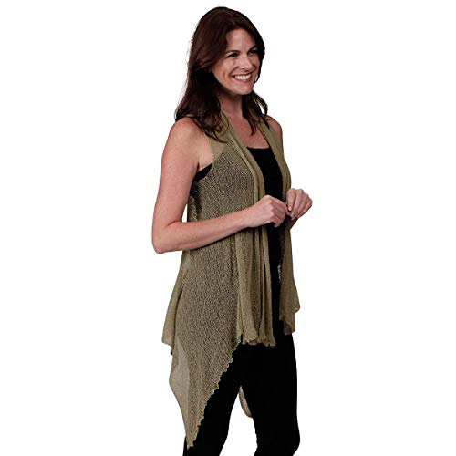 Le Moda Women's Sleeveless Sheer Open Stitch Vest Cardigan | Open Front | One Size (ONE Size, Moss) ()