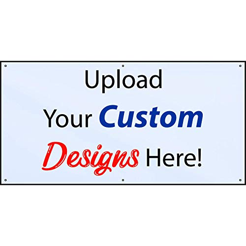 HALF PRICE BANNERS | Custom Design Vinyl Banner | Personalize with Your Design | 9oz Mesh Wind Resistant | 4'x8' White | Includes Ball Bungees & Zip Ties | Advertise Sign | Various Sizes | Made in USA