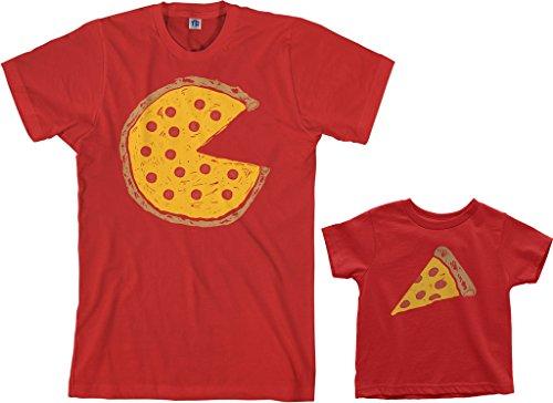 Threadrock Pizza Pie & Slice Toddler & Men's T-Shirt Matching Set (Toddler: 2T, Red|Men's: M, Red) ()