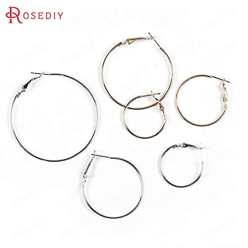 Laliva 20PCS 25MM 30MM 35MM 40MM 50MM 24K Gold Color Iron Round Circle Loop Earrings Hoops DIY Jewelry Findings Earrings Accessories - (Color:, Size: 30MM) (Mm 25 Round Hoop)