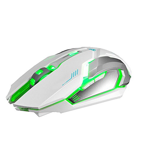 (Wireless Gaming Mouse Computer Laptop Rechargeable X7 Silent LED Backlit USB Optical Cordless Ergonomic Mouse (White))