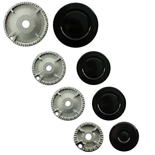 SPARES2GO (Non Universal) Oven Cooker Hob Gas Burner Crown & Flame Cap Kit for Neff (Small, 2 Medium & Large, 55mm - ()