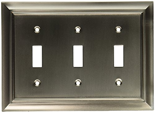 (BRAINERD 64174 Architectural Triple Toggle Switch Wall Plate / Switch Plate / Cover satin nickel)