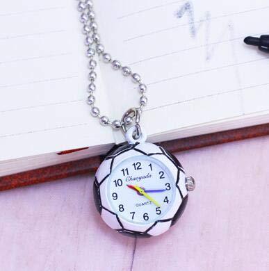 Pocket & Fob Watches - Chaoyada Lovely Soccer Ball Shape Bronze Round Quartz Pocket Watch With Chain Necklace Jewelry Gifts - Pocket Fob Watch Watch Pocket Pocket Locket Pocket Girl Cup Pocket (Dial Flag Bezel)