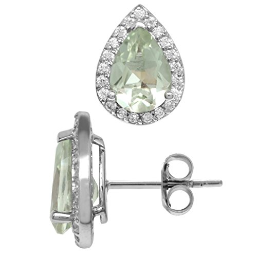 3.1ct. 10x7MM Natural Pear Shape Green Amethyst 925 Sterling Silver Halo Stud Earrings ()