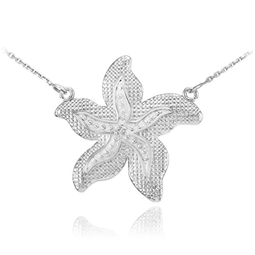 Textured 14k White Gold Diamond-Accented Starfish Pendant Necklace, (White Gold Starfish Necklace)