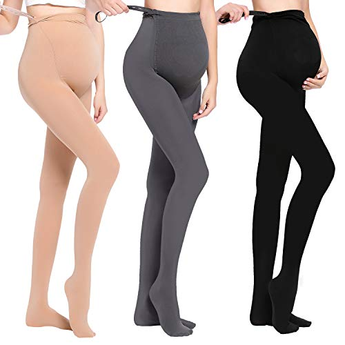 (JOYNCLEON Maternity Pregnant Women Tights Adjustable Opaque Pantyhose 200DEN One Size Fits All (Free size Weight 99-176lbs, 3Pack (Black +Grey +Nude)))