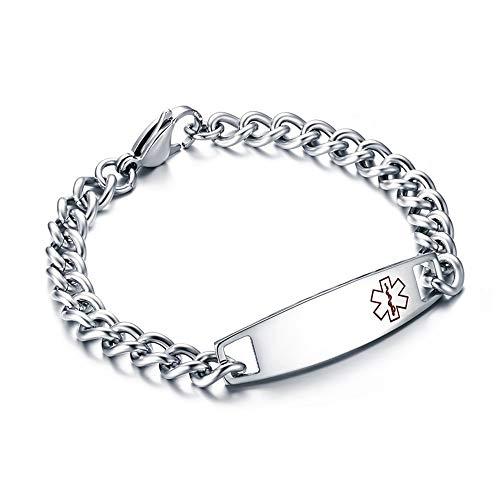 Esther Titanium Stainless Steel Medical Alert Logo ID Bracelet for Men Women Comfort Fit Silver