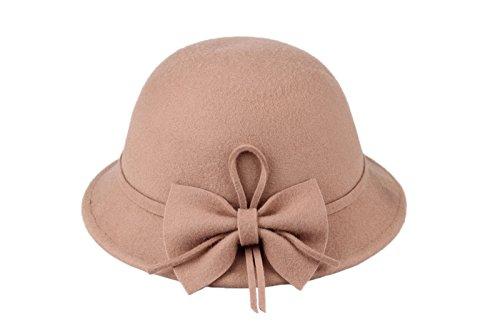 Dantiya Kids Girls Winter Warm Bucket Hats Fedoras With Belt (Khaki)
