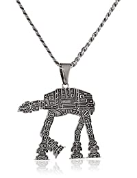 Star Wars Jewelry Unisex At-At Walker Stainless Steel Chain Pendant Necklace, 24""