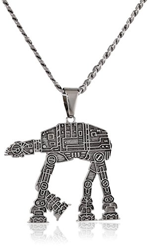Star Wars Jewelry Unisex At-At Walker Stainless Steel Chain Pendant Necklace, 24