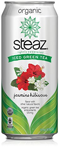 Steaz Organic Iced Green Tea with Jasmine Hibiscus - 16 oz (Pack of 12)