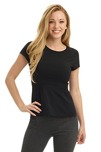 Detail Collection (Rekucci Collection Women's Stretch Peplum Top With Back Zip Detail (12,Black))