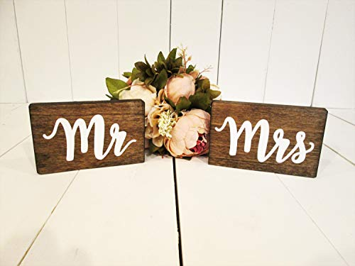 Mr and mrs Wood Signs, Sweetheart Table Sign, Head Table Sign, Bride and Groom Table Signs, Rustic Wedding Decor, Wooden Sign, Hanging Sign -