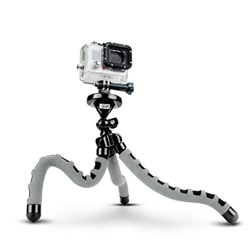 Flexible Tripod for Action Camera by USA Gear for GoPro HERO 6 Black , HERO5 Black/Session , AKASO EK7000 & Garmin VIRB Ultra 30 w/Bendable Wrapping Legs, Articulating Ball Head - Action Gear