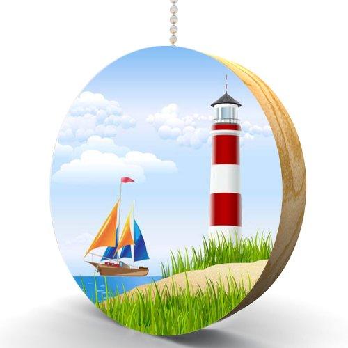 Lighthouse and Sailboat Hardwood Oak Fan / Light - Premium Lighthouse Outlets