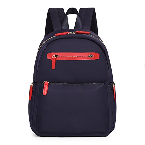 ECOSUSI Nylon Backpack for Women Fashion Casual Daypack Blue and Red