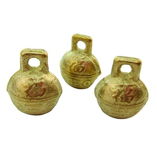 10pcs Carve Chinese Luky Raw Brass Tibetan Round Bell Charm Pendants 17.6x13.8mm 0102-2001