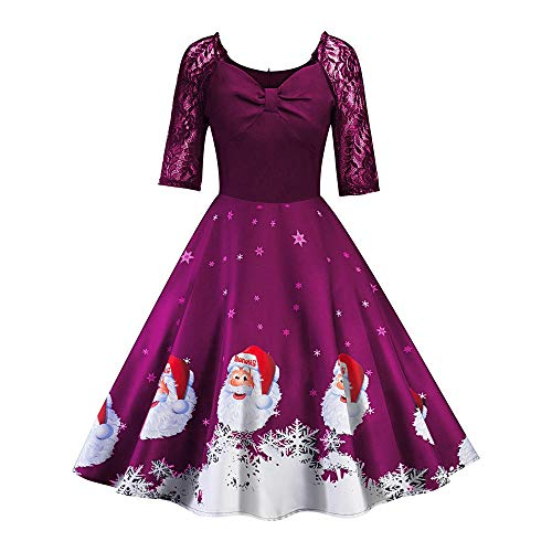 Sales Continental Tv - Christmas Dresses, Women Half Sleeve Lace Patchwork Printing Vintage Gown Party Dress Rakkiss
