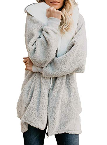 (OLIVE TREE Women Full Zip Coats Hooded Sherpa Jacket Oversized Fuzzy Cardigan with)