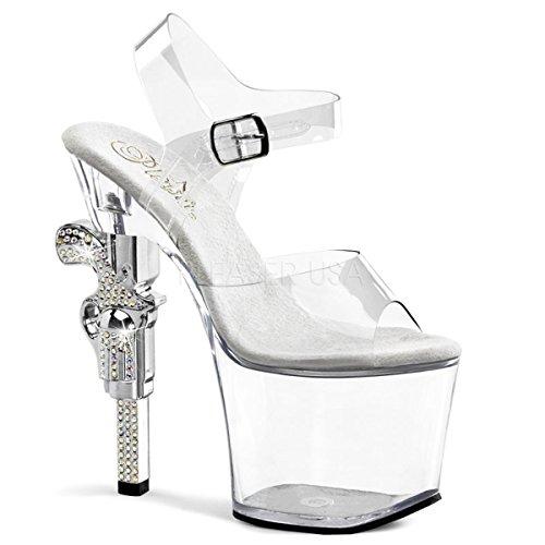 Pleaser Women's Revolver-708 Platform Sandal,Clear,8 M US ()