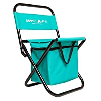 Mini Portable Folding Chair w/ Built In Cooler - Ultra Lightweight & Compact Outdoor Chair - On the Go Seating Perfect for Picnics, Hiking, Tailgating, Parades & More - Includes Bonus Travel Tote Bag by One Savvy Life