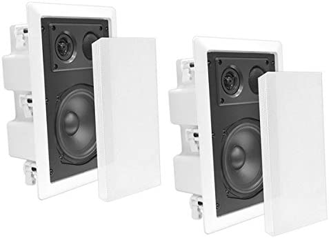 "B0013CHC3W Ceiling Wall Mount Enclosed Speaker - 400 Watt Stereo In-wall / In-ceiling 8"" Enclosed Full Range Deep Bass Speaker System - 50Hz-20kHz Frequency Response, 4-8 Ohm, Flush Mount - Pyle PDIW87 414eixodSvL"