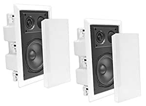 Pyle In-Wall / In-Ceiling Dual 8.0'' Enclosed Speaker Systems, 2-Way Flush Mount Stereo Speakers (Pair)