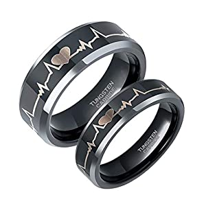 6mm 8mm EKG Heartbeat Wedding Band Silver Black Tungsten Carbide Ring for Men Women Comfort Fit Size 4-15