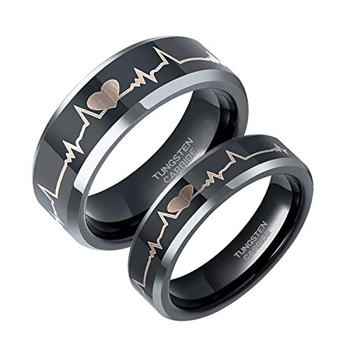 Greenpod 8mm Black Tungsten Wedding Band for Him and Her EKG Laser Etched Heart Beat Engagement Ring Size 10.5