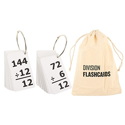 157-Pieces Math Flash Cards - Division Flash Cards 0-12 - Includes 2 Stainless Steel Rings and Drawstring Carrying Pouch - Suitable for Kids Ages 6 and Up, 3.15 x 5.3 Inches ()