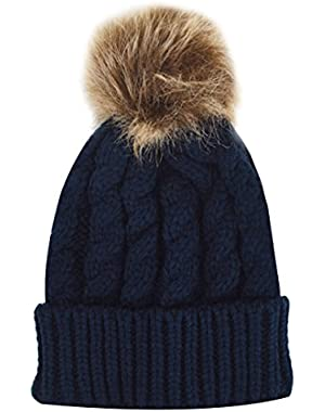 Children Cute Pompon Knitted Hat Winter Warm Beanie Hat