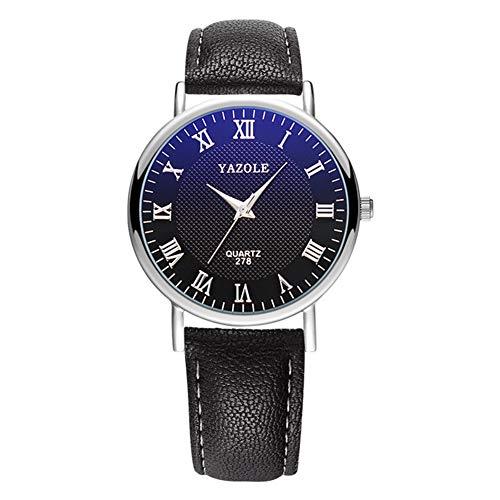 lightclub Men Women Wristwatch Sweat-Proof Faux Leather Pointer Quartz Watch Lovers Clock for Women Men Black