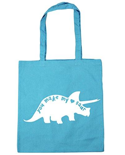 Make Beach litres My Heart You HippoWarehouse Bag Shopping Cute Saur 42cm 10 Blue Dinosaur x38cm Gym Tote Surf 5qB1ZExwZv