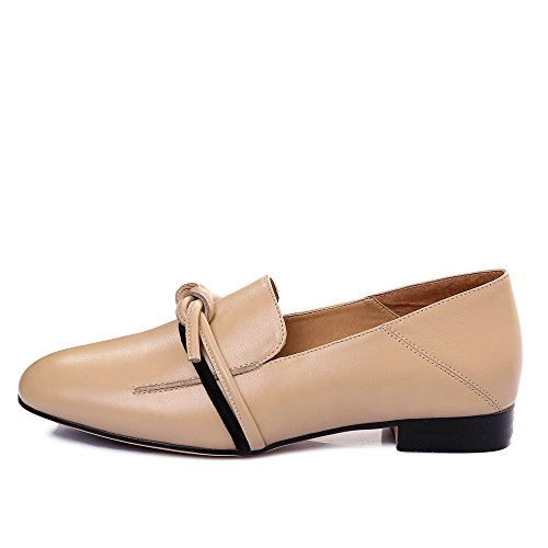 Nine Women's apricot Casual Comfort Seven Toe Leather Shoes Square Genuine Flats Handmade rqwrFxPtH